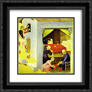 St. Nicholas and the Three Gold Balls, From the predella of the Quaratesi triptych from San Niccolo, Florence 20x20 Black or Gold Ornate Framed and Double Matted Art Print by Gentile da Fabriano