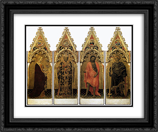 Two saints from the Quaratesi Polyptych St. Mary Magdalen and St. Nicholas 24x20 Black or Gold Ornate Framed and Double Matted Art Print by Gentile da Fabriano