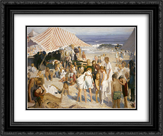Beach at Coney Island 24x20 Black or Gold Ornate Framed and Double Matted Art Print by George Bellows