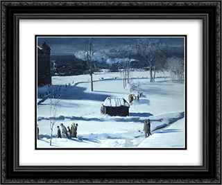 Blue Snow, The Battery 24x20 Black or Gold Ornate Framed and Double Matted Art Print by George Bellows