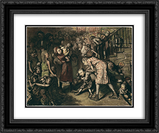 Cliff Dwellers 24x20 Black or Gold Ornate Framed and Double Matted Art Print by George Bellows