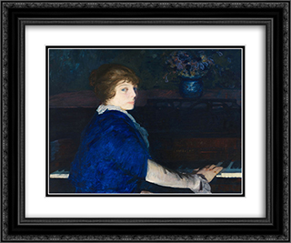 Emma at the Piano 24x20 Black or Gold Ornate Framed and Double Matted Art Print by George Bellows