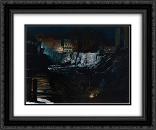 Excavation at Night 24x20 Black or Gold Ornate Framed and Double Matted Art Print by George Bellows