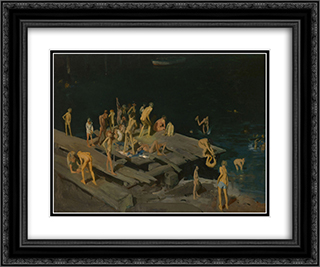 Forty-two Kids 24x20 Black or Gold Ornate Framed and Double Matted Art Print by George Bellows