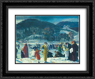 Love of Winter 24x20 Black or Gold Ornate Framed and Double Matted Art Print by George Bellows