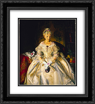 Mrs. T in Cream Silk, No. 2 20x22 Black or Gold Ornate Framed and Double Matted Art Print by George Bellows