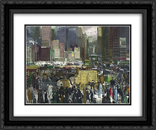 New York 24x20 Black or Gold Ornate Framed and Double Matted Art Print by George Bellows