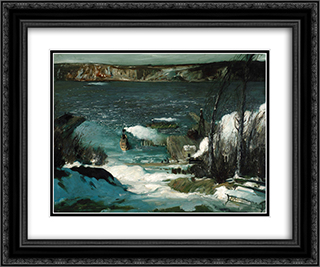 North River 24x20 Black or Gold Ornate Framed and Double Matted Art Print by George Bellows