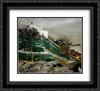 Rain on the River 22x20 Black or Gold Ornate Framed and Double Matted Art Print by George Bellows