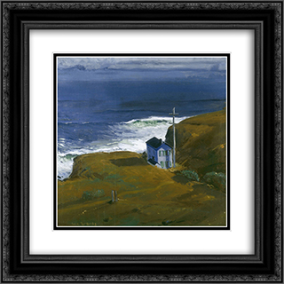 Shore House 20x20 Black or Gold Ornate Framed and Double Matted Art Print by George Bellows