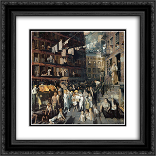 The Cliff Dwellers 20x20 Black or Gold Ornate Framed and Double Matted Art Print by George Bellows
