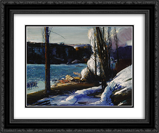 The Palisades 24x20 Black or Gold Ornate Framed and Double Matted Art Print by George Bellows