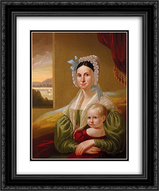 Mrs. David Steele Lamme and Son, William Wirt 20x24 Black or Gold Ornate Framed and Double Matted Art Print by George Caleb Bingham