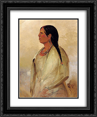 A Choctaw Woman 20x24 Black or Gold Ornate Framed and Double Matted Art Print by George Catlin