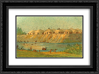 A village of the Hidatsa tribe at Knife River 24x18 Black or Gold Ornate Framed and Double Matted Art Print by George Catlin