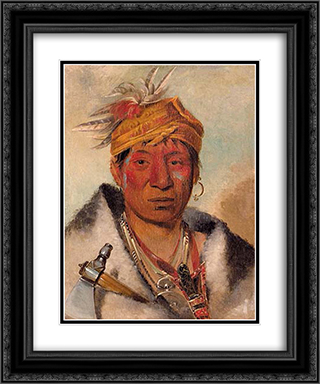 Ah-yaw-ne-tak-oar-ron, a Warrior 20x24 Black or Gold Ornate Framed and Double Matted Art Print by George Catlin