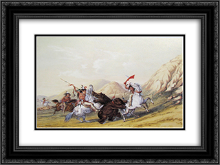 Attacking the Grizzly Bear 24x18 Black or Gold Ornate Framed and Double Matted Art Print by George Catlin