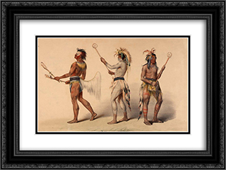 Ball Players 24x18 Black or Gold Ornate Framed and Double Matted Art Print by George Catlin