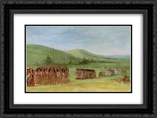 Ball-Play Dance 24x18 Black or Gold Ornate Framed and Double Matted Art Print by George Catlin