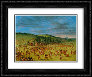 Ball-play of the Choctaw--Ball Up 24x20 Black or Gold Ornate Framed and Double Matted Art Print by George Catlin