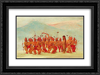 Dance to the Berdache (Sac and Fox) 24x18 Black or Gold Ornate Framed and Double Matted Art Print by George Catlin