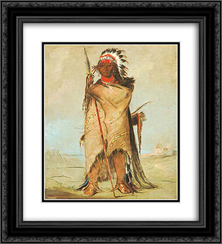 Ho-ra-to-a, a Brave, Fort Union (CrowApsaalooke) 20x22 Black or Gold Ornate Framed and Double Matted Art Print by George Catlin