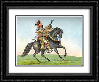Kee-o-kuk (The Running Fox) 24x20 Black or Gold Ornate Framed and Double Matted Art Print by George Catlin