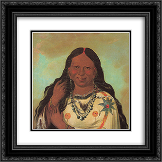 Kei-a-gis-gis, a woman of the Plains Ojibwa 20x20 Black or Gold Ornate Framed and Double Matted Art Print by George Catlin