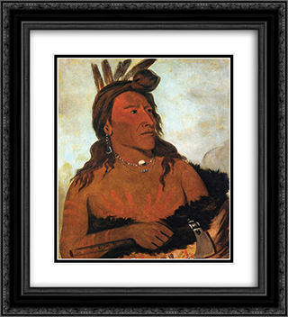 Little Bear, Hunkpapa Brave 20x22 Black or Gold Ornate Framed and Double Matted Art Print by George Catlin
