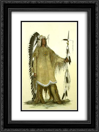 Mah-to-toh-pe (Four Bears, Mandan chief) 18x24 Black or Gold Ornate Framed and Double Matted Art Print by George Catlin