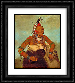 Osage warrior of the Wha-sha-she band (a subdivision of Hunkah) 20x22 Black or Gold Ornate Framed and Double Matted Art Print by George Catlin