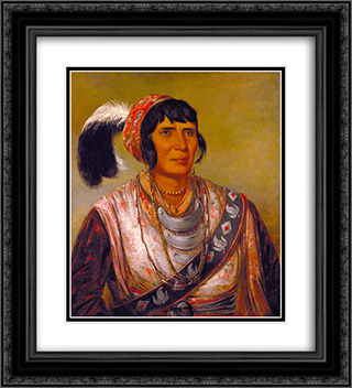 Osceola, Head Chief, Seminole 20x22 Black or Gold Ornate Framed and Double Matted Art Print by George Catlin