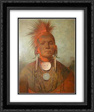 See-non-ty-a, an Iowa Medicine Man 20x24 Black or Gold Ornate Framed and Double Matted Art Print by George Catlin