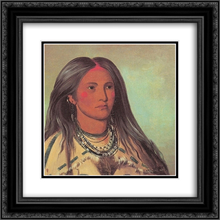 Sha-ko-ka (mint), a Mandan girl 20x20 Black or Gold Ornate Framed and Double Matted Art Print by George Catlin