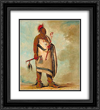 Shonka Sabe (Black Dog). Chief of the Hunkah division of the Osage tribe 20x22 Black or Gold Ornate Framed and Double Matted Art Print by George Catlin