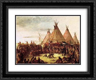 Sioux War Council 24x20 Black or Gold Ornate Framed and Double Matted Art Print by George Catlin