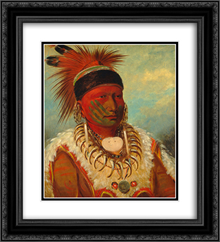 The White Cloud, Head Chief of the Iowa 20x22 Black or Gold Ornate Framed and Double Matted Art Print by George Catlin