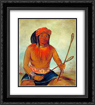 Tul-lock-chish-ko, Drinks the Juice of the Stone (Choctaw) 20x22 Black or Gold Ornate Framed and Double Matted Art Print by George Catlin