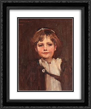Boy from Ardeal 20x24 Black or Gold Ornate Framed and Double Matted Art Print by George Demetrescu Mirea