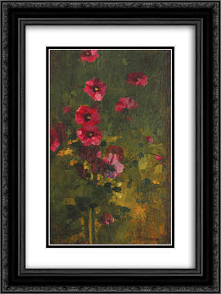 Floral Panel 18x24 Black or Gold Ornate Framed and Double Matted Art Print by George Demetrescu Mirea