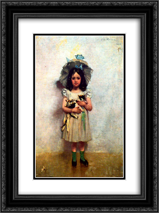 Girl with Cats 18x24 Black or Gold Ornate Framed and Double Matted Art Print by George Demetrescu Mirea