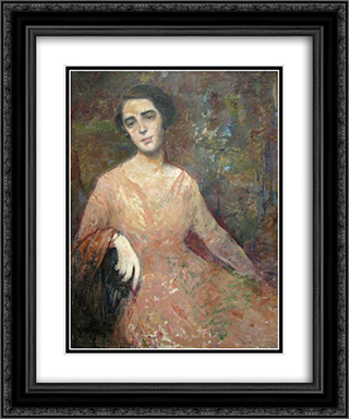 Lady with Pink Dress 20x24 Black or Gold Ornate Framed and Double Matted Art Print by George Demetrescu Mirea