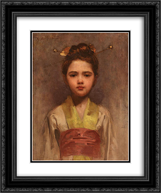 Little Japanese Girl 20x24 Black or Gold Ornate Framed and Double Matted Art Print by George Demetrescu Mirea