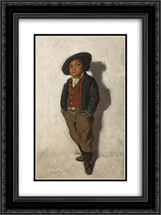 Micul Gavroche 18x24 Black or Gold Ornate Framed and Double Matted Art Print by George Demetrescu Mirea