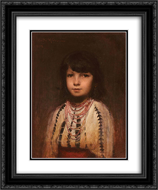 Portrait of a Girl 20x24 Black or Gold Ornate Framed and Double Matted Art Print by George Demetrescu Mirea