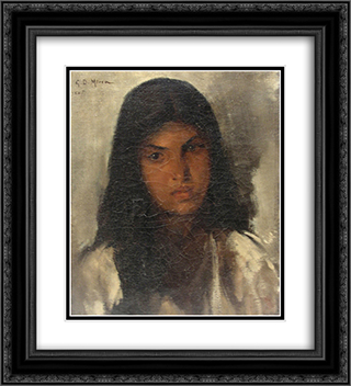 Portrait of a Young Woman 20x22 Black or Gold Ornate Framed and Double Matted Art Print by George Demetrescu Mirea