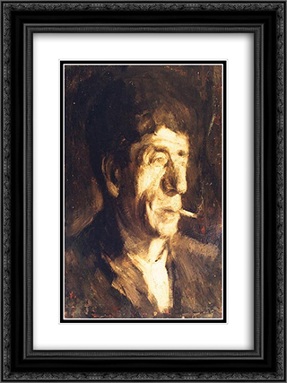 Portrait of Luchian 18x24 Black or Gold Ornate Framed and Double Matted Art Print by George Demetrescu Mirea