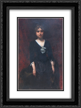 Portrait of Mrs. Sihleanu 18x24 Black or Gold Ornate Framed and Double Matted Art Print by George Demetrescu Mirea