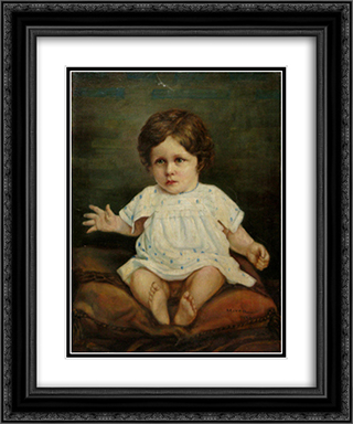 Sitting Child 20x24 Black or Gold Ornate Framed and Double Matted Art Print by George Demetrescu Mirea