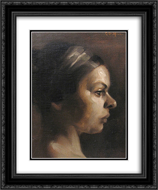 Woman Profile 20x24 Black or Gold Ornate Framed and Double Matted Art Print by George Demetrescu Mirea